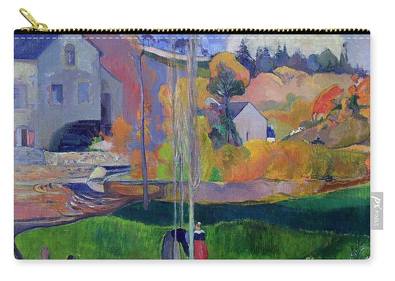 Brittany Landscape: The David Mill Carry-all Pouch featuring the painting Brittany Landscape by Paul Gauguin