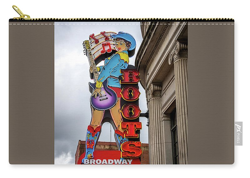 Broadway Boots Carry-all Pouch featuring the photograph Broadway Boots - Nashville Tn by Debra Martz