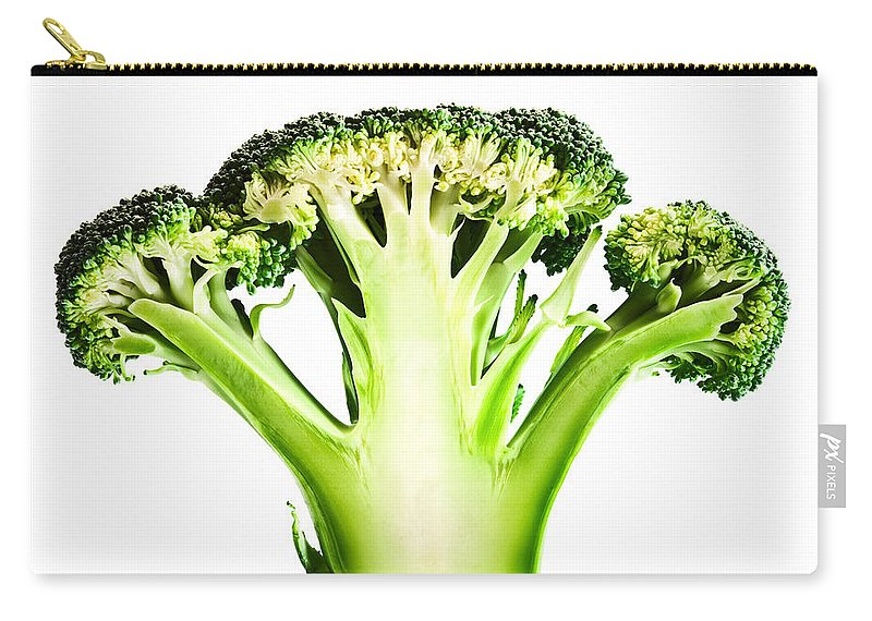 Broccoli Carry-all Pouch featuring the photograph Broccoli Cutaway On White by Johan Swanepoel