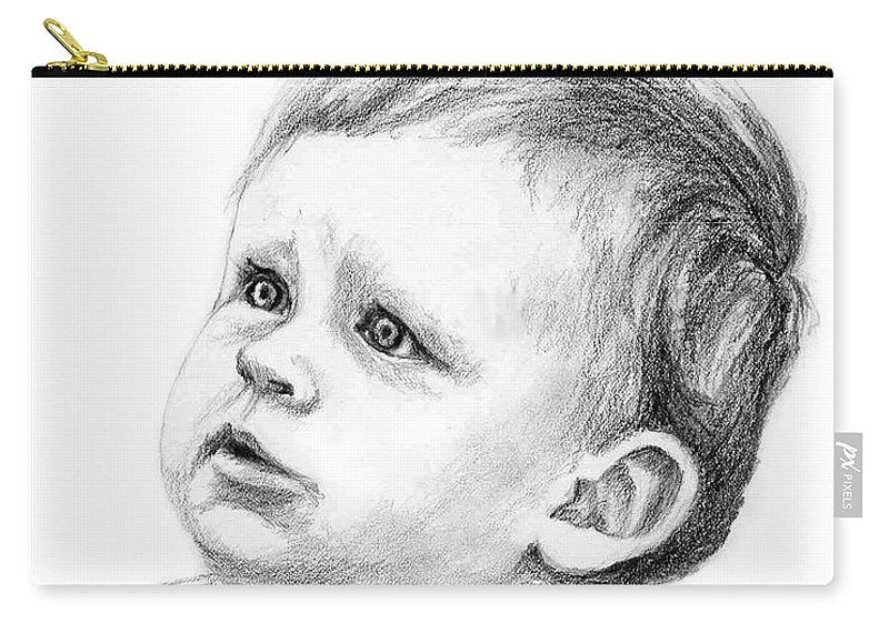 Portrait Carry-all Pouch featuring the drawing Brodi by Keith Burgess