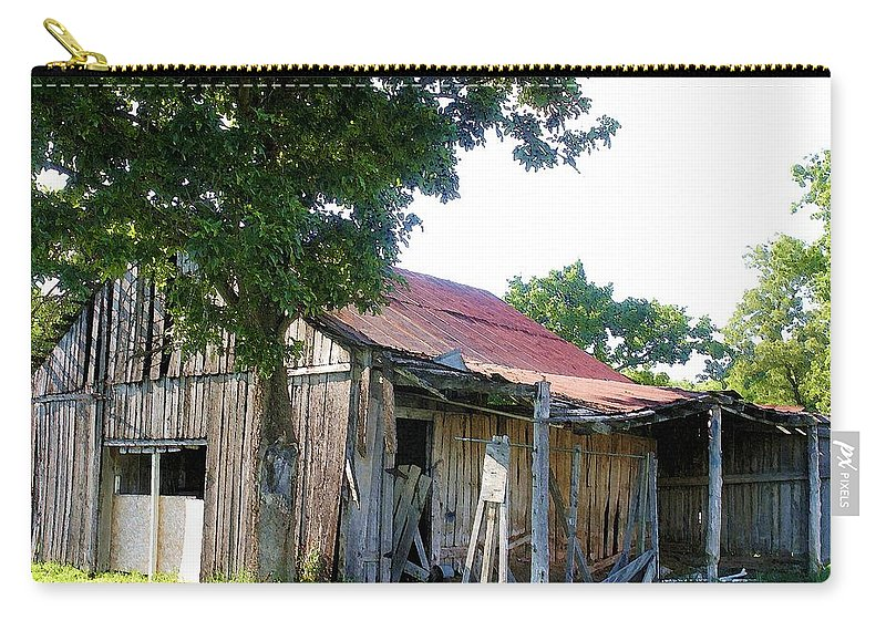 Barn Carry-all Pouch featuring the photograph Brokedown Barn by Nelson Strong