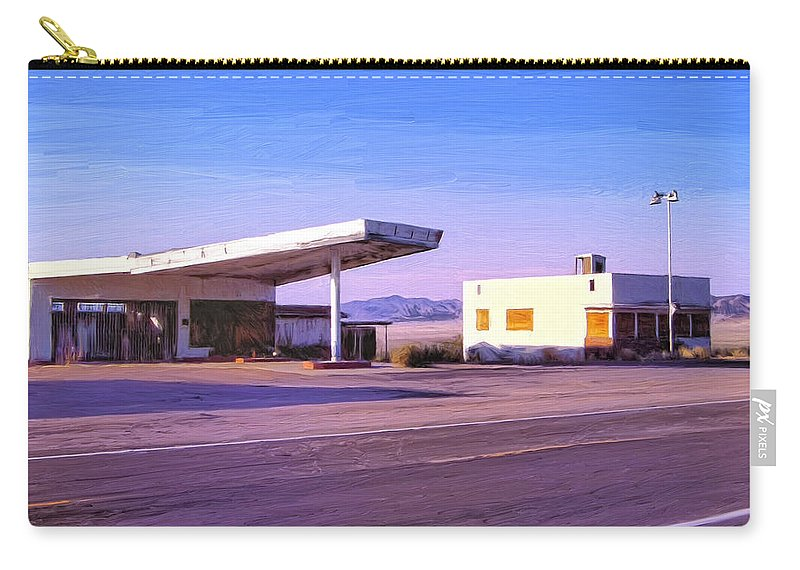 Old Gas Station Carry-all Pouch featuring the painting Broken Dreams by Dominic Piperata