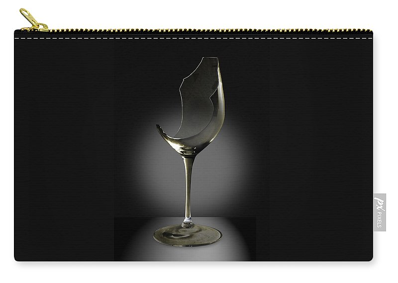 Glassware Carry-all Pouch featuring the photograph Broken Wine Glass by Yuri Lev