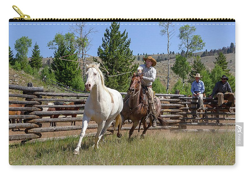 Cowboy Carry-all Pouch featuring the photograph Bronc Roper by Jack Bell