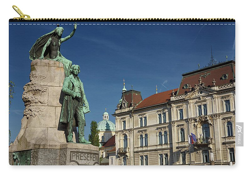 National Poet Carry-all Pouch featuring the photograph Bronze Sculpture Of National Poet Preseren Monument With Muse An by Reimar Gaertner