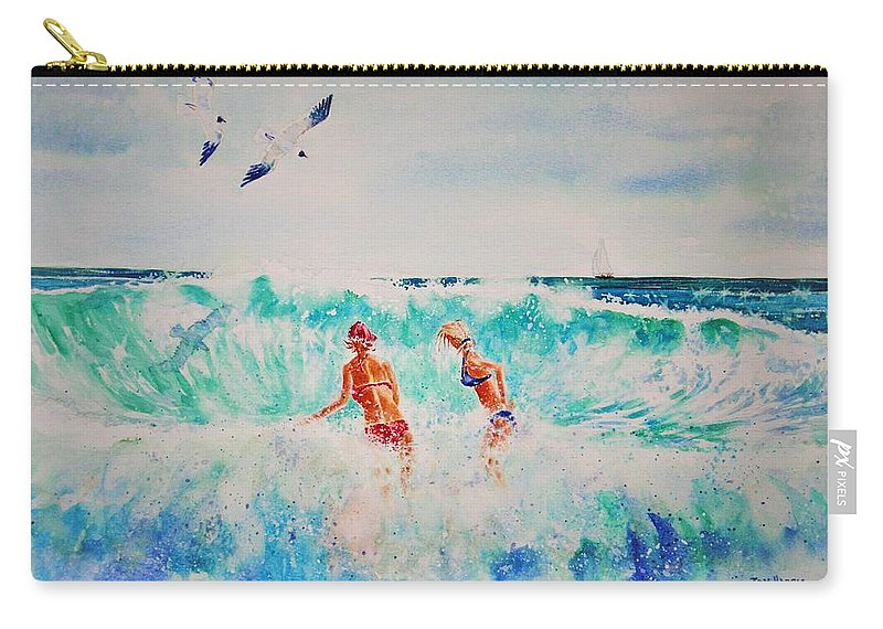 Surf Carry-all Pouch featuring the painting Brooke And Carey In The Shore Break by Tom Harris