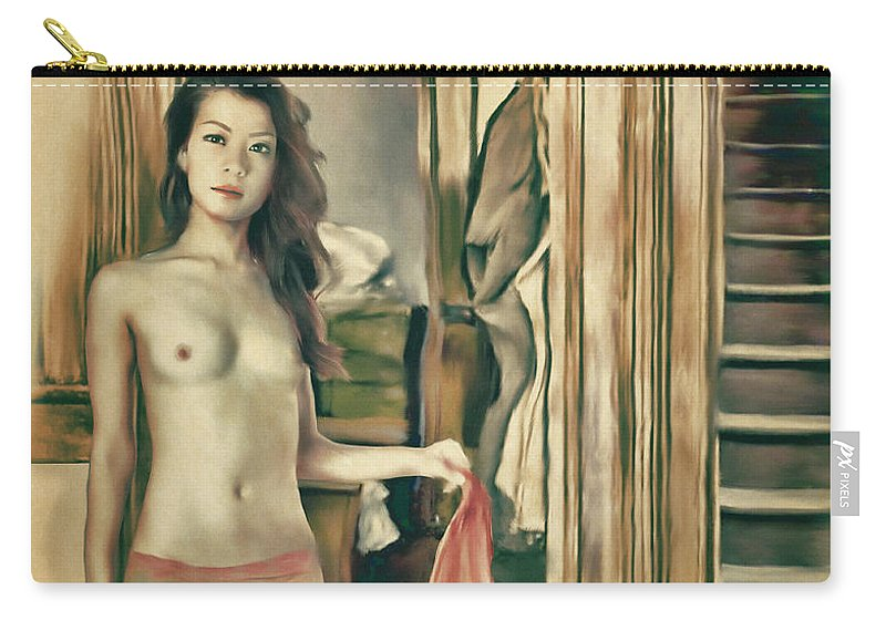 Salome Carry-all Pouch featuring the painting Brooklyn - Asian American Series by Salome Hooper