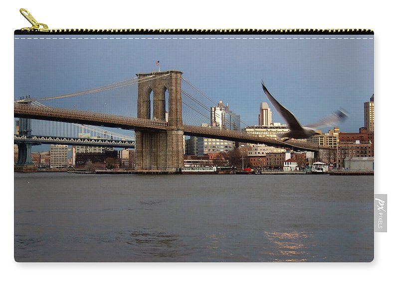 Brooklyn Bridge Carry-all Pouch featuring the photograph Brooklyn Bridge And Bird In Flight by Anita Burgermeister