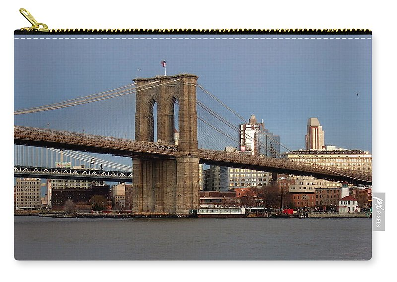 Brooklyn Bridge Carry-all Pouch featuring the photograph Brooklyn Bridge by Anita Burgermeister
