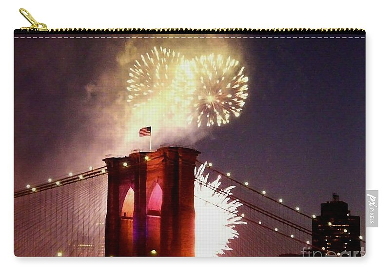 Brooklyn-bridge Carry-all Pouch featuring the photograph Brooklyn Bridge Celebration by Kendall Eutemey