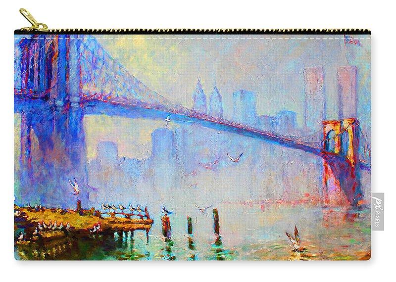 Brooklyn Bridge Carry-all Pouch featuring the painting Brooklyn Bridge In A Foggy Morning by Ylli Haruni