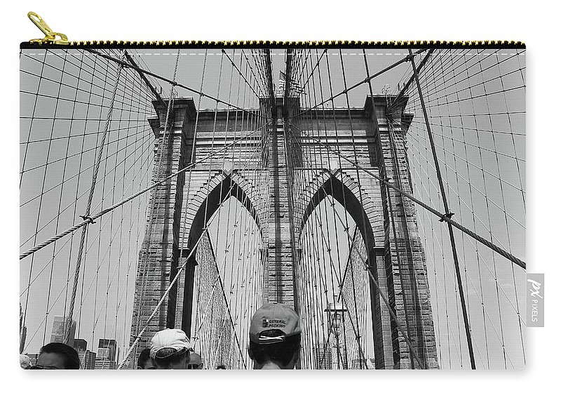 Black And White Carry-all Pouch featuring the photograph Brooklyn Bridge In Black And White by Nadia Asfar