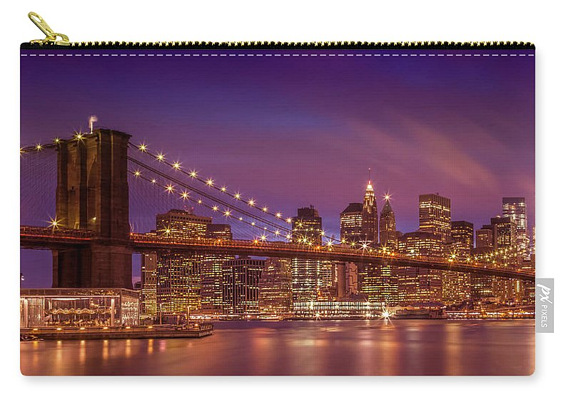 New York Carry-all Pouch featuring the photograph Brooklyn Bridge Sunset - Panorama by Melanie Viola