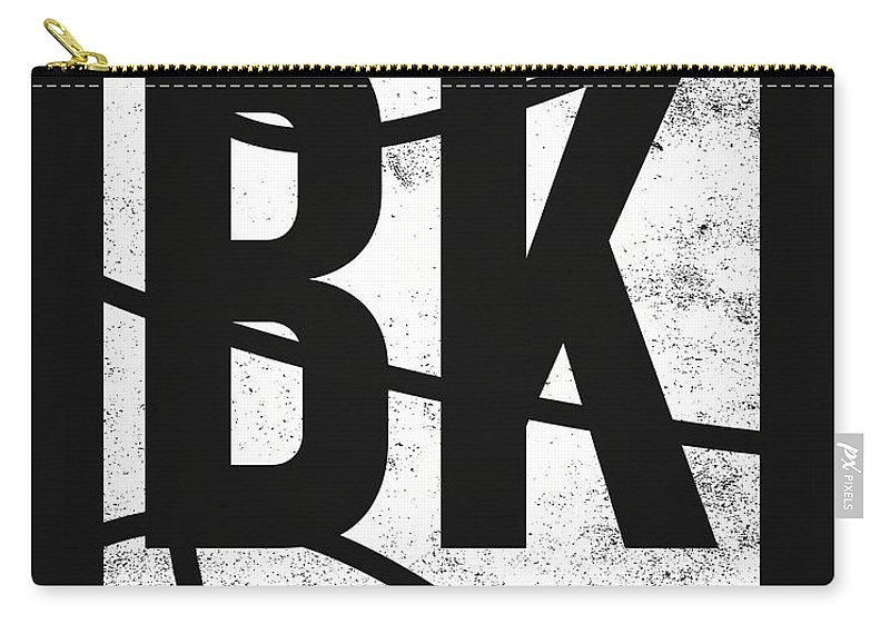 Nets Carry-all Pouch featuring the mixed media Brooklyn Nets City Poster Art by Joe Hamilton