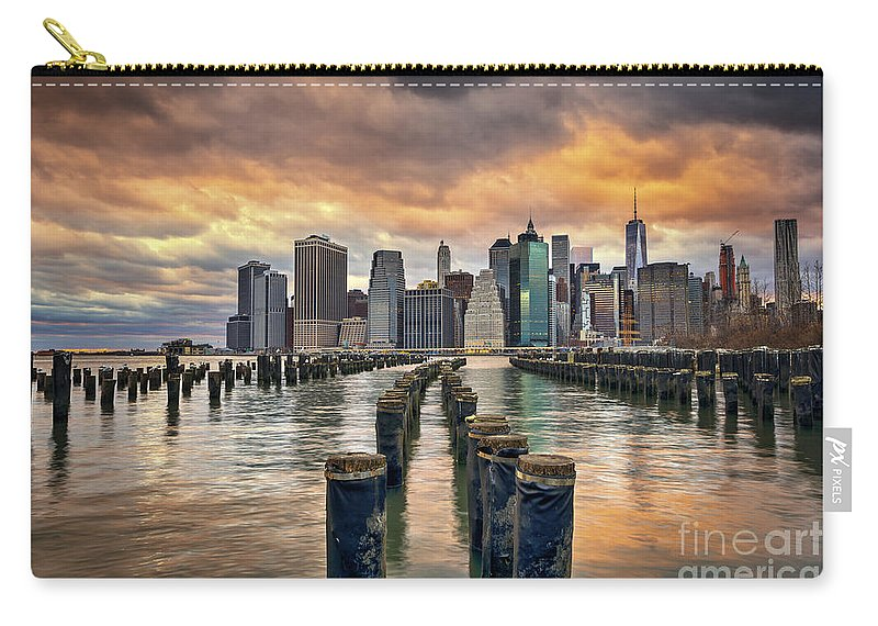 Brooklyn Bridge Park Carry-all Pouch featuring the photograph Brooklyn Pilings  by Michael Ver Sprill