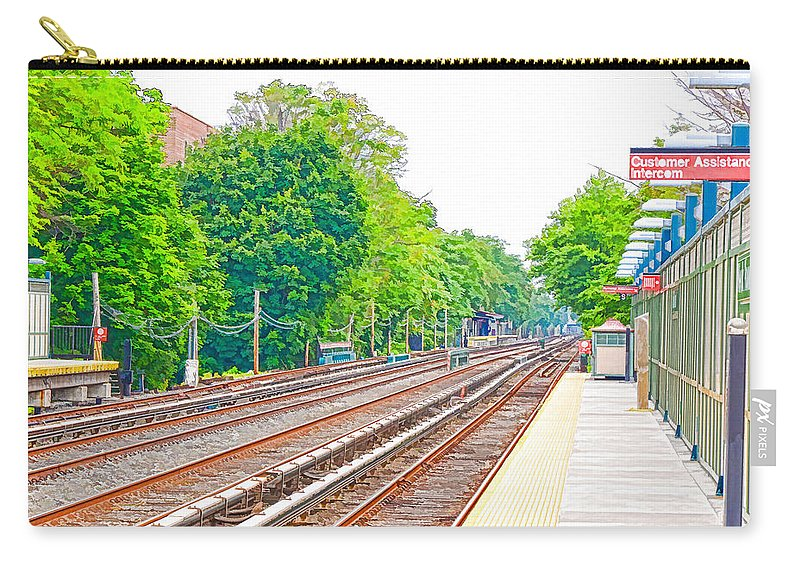 Brooklyn Subway Train Station Carry-all Pouch featuring the painting Brooklyn Subway Train Station 2 by Jeelan Clark