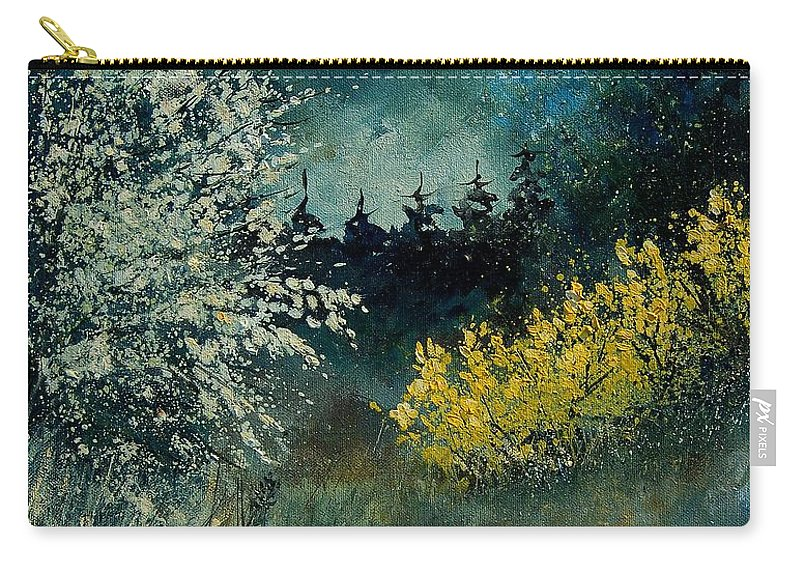 Spring Carry-all Pouch featuring the painting Brooms Shrubs by Pol Ledent