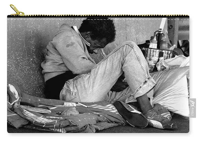 Homeless Carry-all Pouch featuring the photograph Brother Can You Spare A Dime by Kendall Eutemey