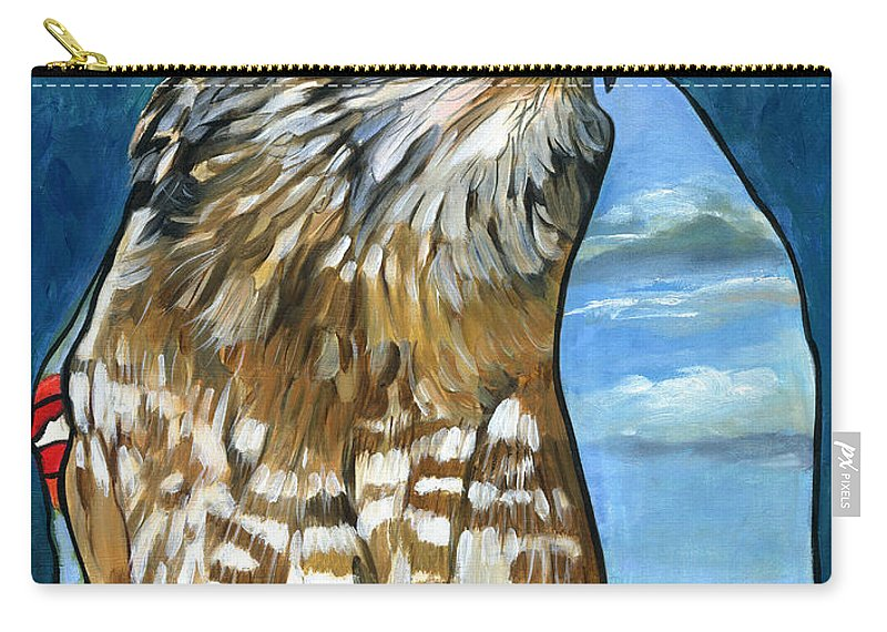 Hawk Carry-all Pouch featuring the painting Brother Hawk by J W Baker