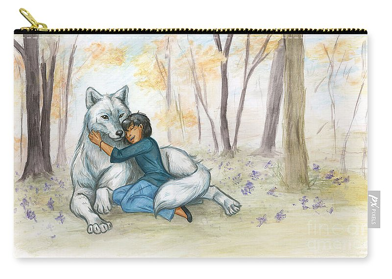 Wolf Carry-all Pouch featuring the painting Brother Wolf - Dream by Brandy Woods