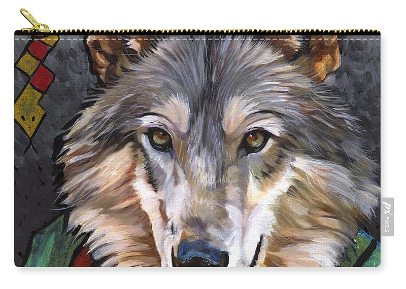 Wolf Carry-all Pouch featuring the painting Brother Wolf by J W Baker