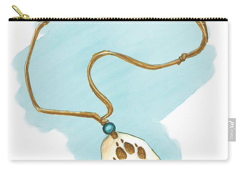 Art Carry-all Pouch featuring the painting Brother Wolf - The Necklace by Brandy Woods