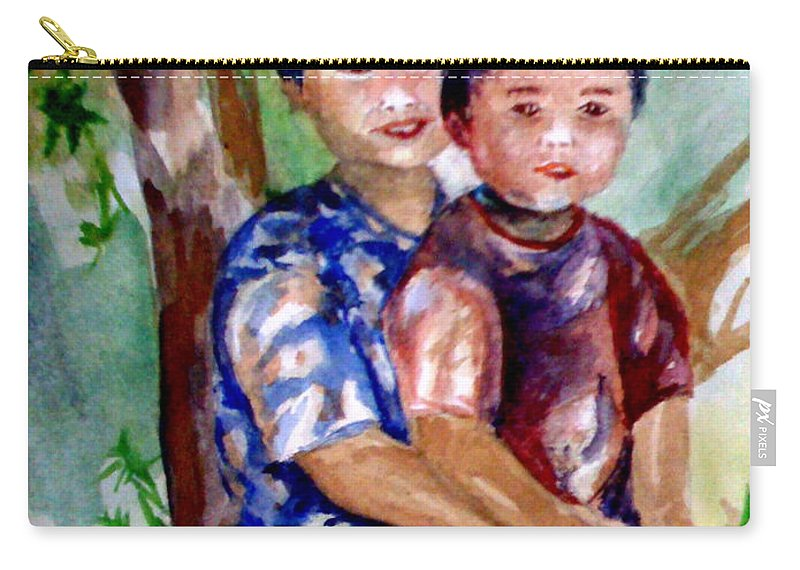 Brothers Carry-all Pouch featuring the painting Brothers Bonding by Matthew Doronila