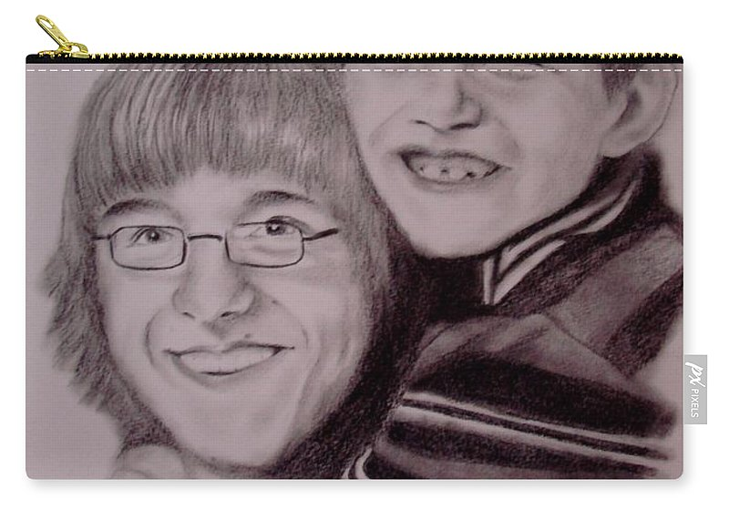 Portrait Carry-all Pouch featuring the drawing Brothers For Life by Glory Fraulein Wolfe
