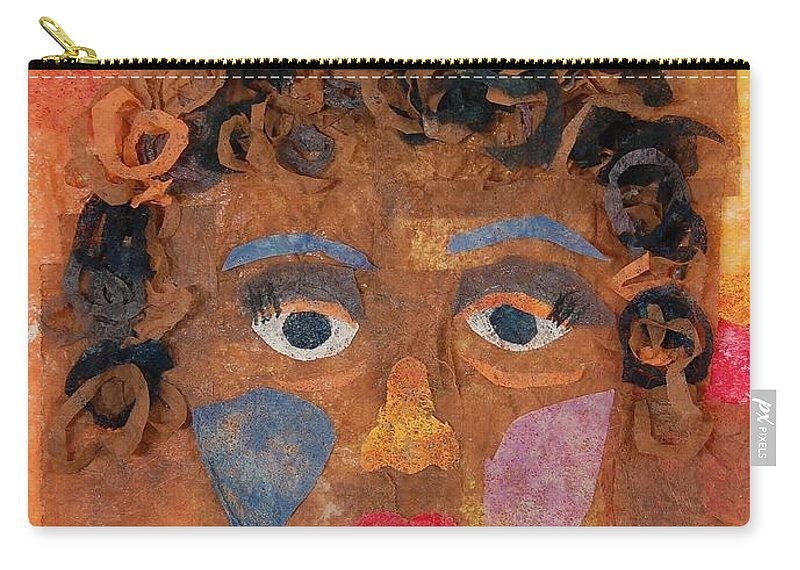 Face Carry-all Pouch featuring the mixed media Brown Curls by Charla Van Vlack