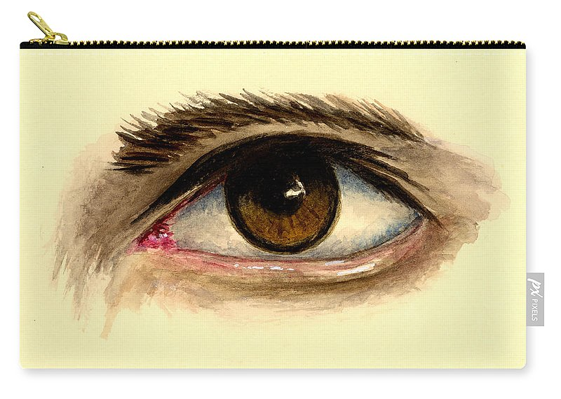 Eye Carry-all Pouch featuring the painting Brown Eye by Michael Vigliotti