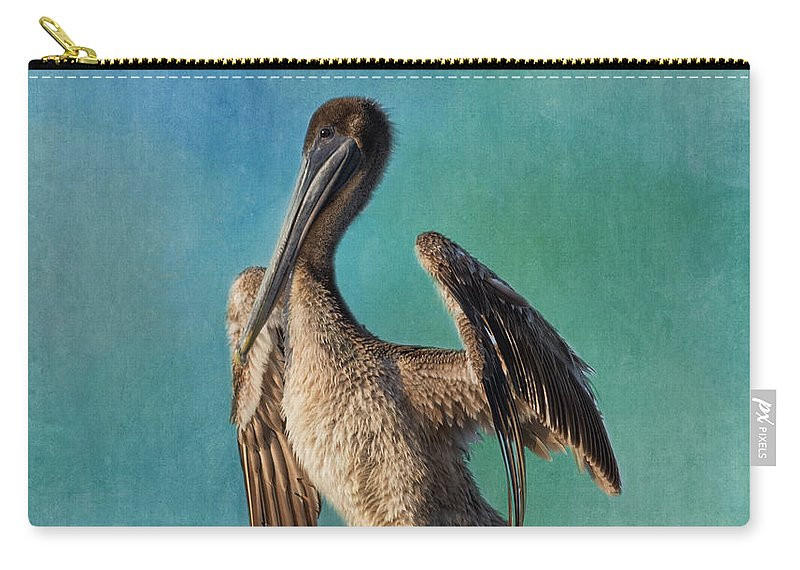 Pelican Carry-all Pouch featuring the photograph Brown Pelican - Fort Myers Beach by Kim Hojnacki