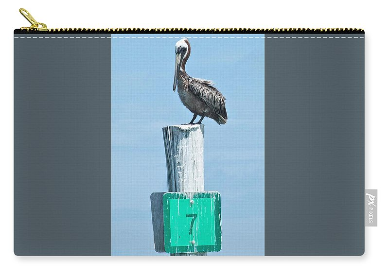 Brown Pelican Carry-all Pouch featuring the photograph Brown Pelican On Marker 7 by Mary Ann Artz