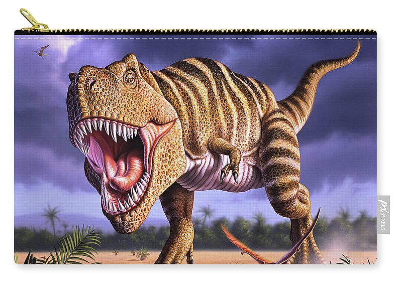 Dinosaur Carry-all Pouch featuring the digital art Brown Rex by Jerry LoFaro
