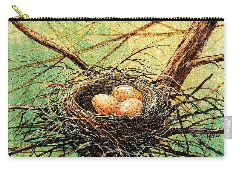 Wildlife Carry-all Pouch featuring the painting Brown Speckled Eggs by Frank Wilson