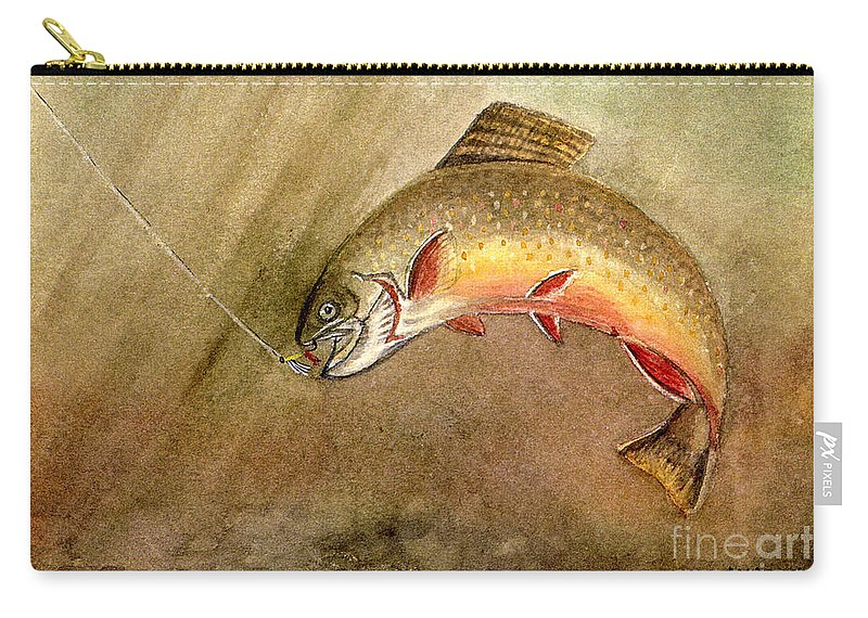 Trout Carry-all Pouch featuring the painting Brown Trout by Mary Tuomi