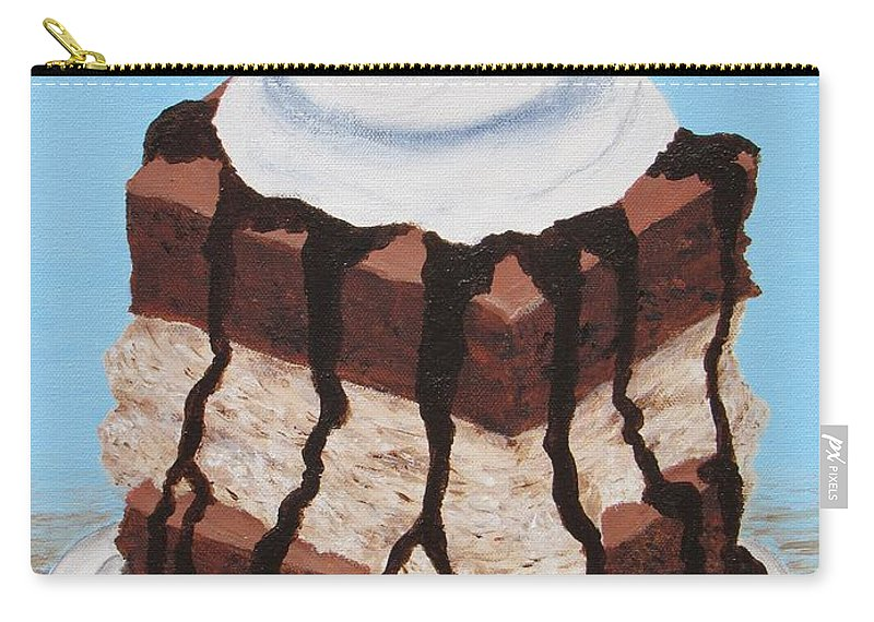 Brownie Carry-all Pouch featuring the painting Brownie Ice Cream Sandwich by Nancy Nale