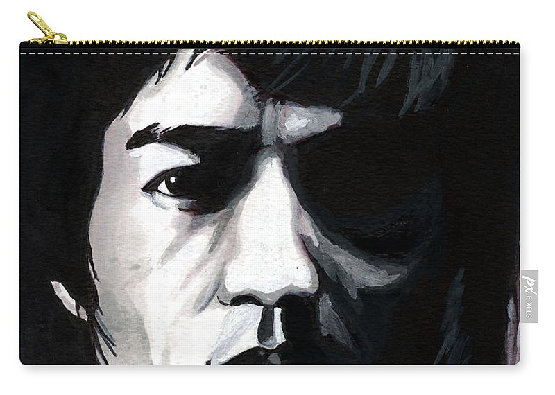 Bruce Lee Carry-all Pouch featuring the mixed media Bruce Lee Portrait by Alban Dizdari