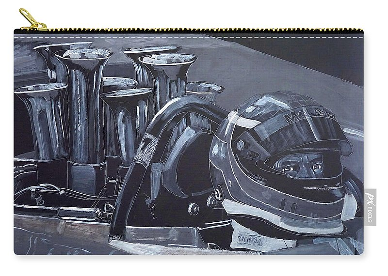Car Carry-all Pouch featuring the painting Bruce Mclaren Canam by Richard Le Page