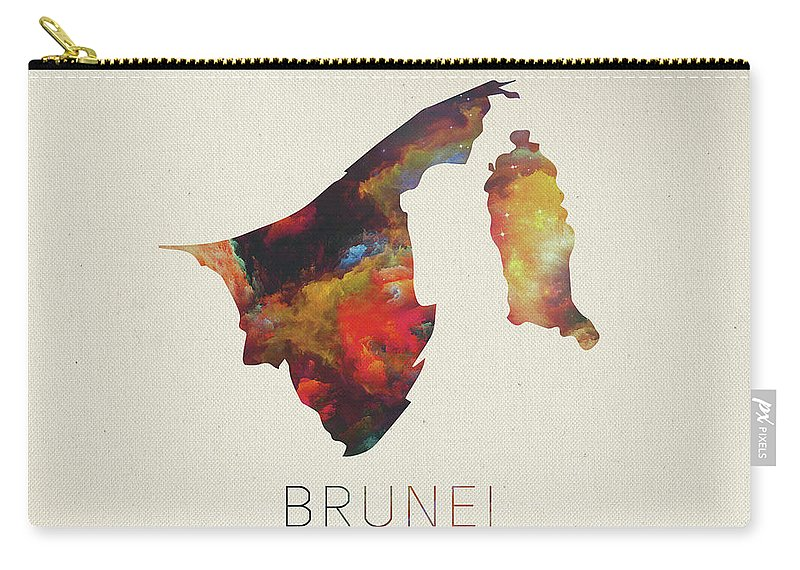 Brunei Carry-all Pouch featuring the mixed media Brunei Watercolor Map by Design Turnpike