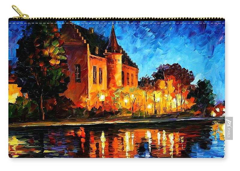 Afremov Carry-all Pouch featuring the painting Brussels - Castle Saventem by Leonid Afremov