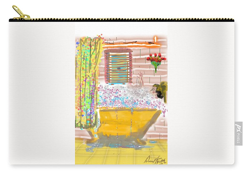 Woman Bubble Bath Flowers Yellow Antique Tub Carry-all Pouch featuring the digital art Bubble Bath by David R Keith