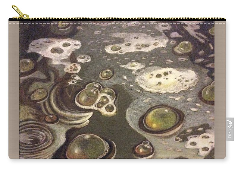 Bubbles Carry-all Pouch featuring the painting Bubble Boil and Trouble 1 by Art Nomad Sandra Hansen