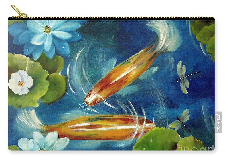 Koi Carry-all Pouch featuring the painting Bubble Maker by Carol Sweetwood