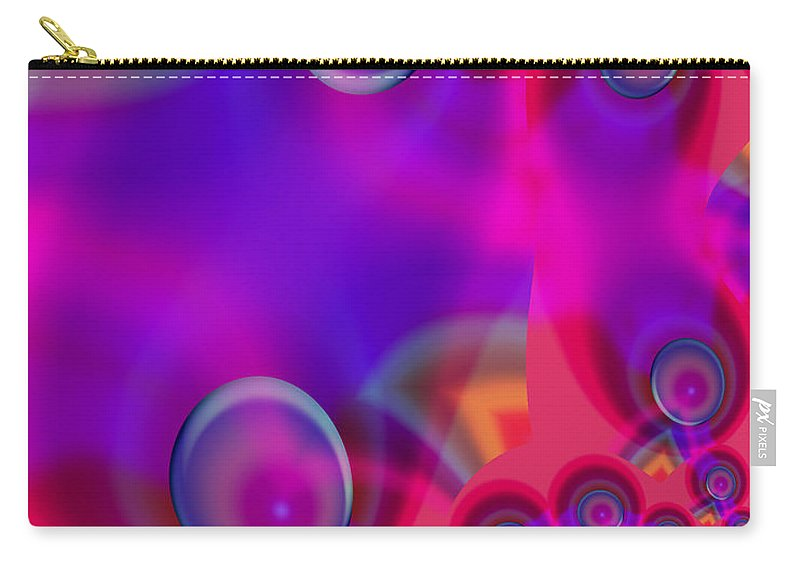 Bubbles Color Colorful Rainbow Pink Blue Yellow Purple Abstract Carry-all Pouch featuring the digital art Bubble Trails by Andrea Lawrence