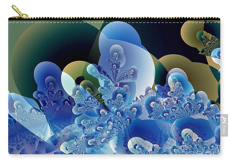 Fractal Art Carry-all Pouch featuring the digital art Bubbles And Sharp Points by Ron Bissett