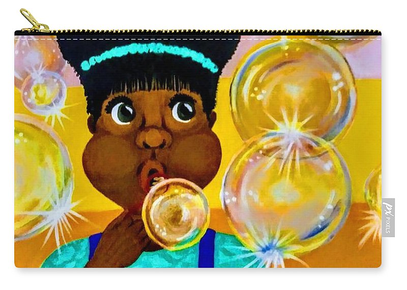 Girls Carry-all Pouch featuring the painting Bubbles by Kim Johnson