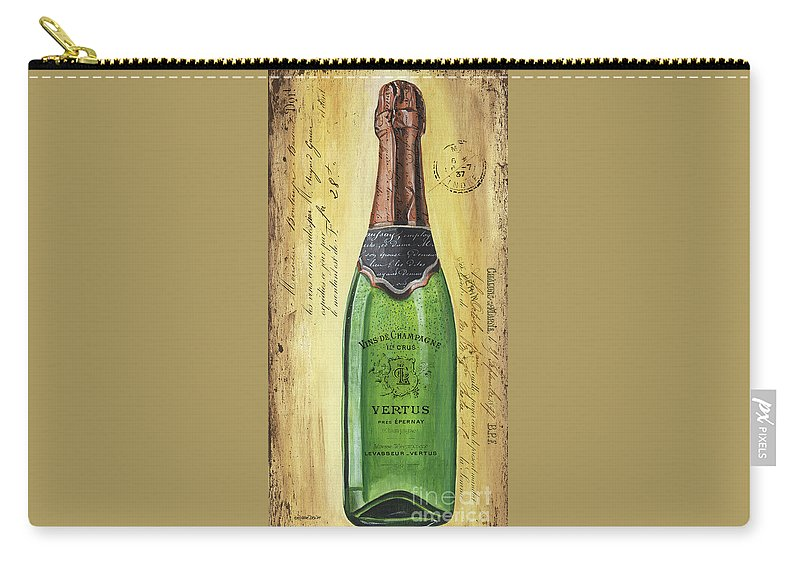 Alcohol Carry-all Pouch featuring the painting Bubbly Champagne 2 by Debbie DeWitt