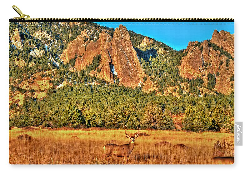 Deer Carry-all Pouch featuring the photograph Buck And Flatirons by Scott Mahon