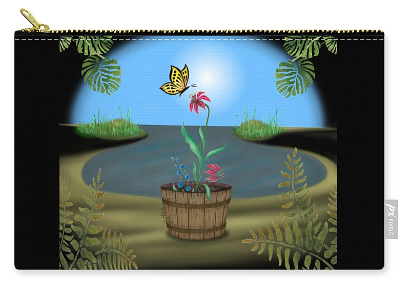 Vincent Autenrieb Carry-all Pouch featuring the digital art Bucket Butterfly by Vincent Autenrieb