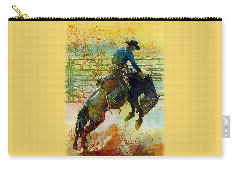 Bronc Carry-all Pouch featuring the painting Bucking Rhythm by Hailey E Herrera